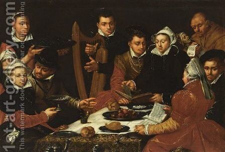 Elegant Figures At A Table Singing And Playing Music by (after) Dirck Barendsz - Reproduction Oil Painting
