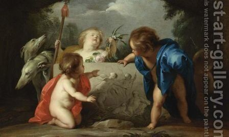 Four Putti And Two Greyhounds Admiring A Bas-Relief Showing Venus And Adonis In A Landscape by Jacob de Wit - Reproduction Oil Painting
