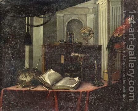 A Still Life With A Book, A Globe, A Candlestick And Other Objects, All On A Table, With A Parrot Standing On A Stone Ledge In The Foreground by (after) Bartolomeo Bettera - Reproduction Oil Painting