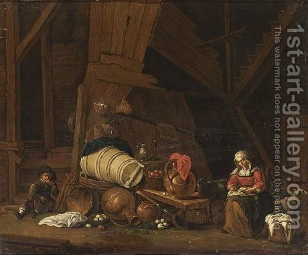 A Barn Interior With A Maid Sowing, A Boy Eating An Apple And A Still Life Of Pots And Pans And Fruits by (after) Cornelis Saftleven - Reproduction Oil Painting