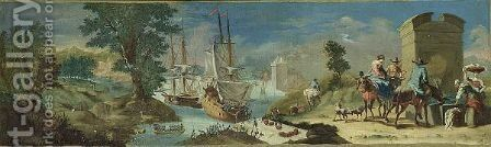 A Mediterranean Coastal Scene With Ships Unloading Their Goods And Travellers Watering Their Horses In The Foreground by (after) Nicolaes Berchem - Reproduction Oil Painting