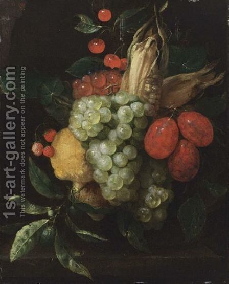 A Still Life With A Bunch Of White And Black Grapes, Prunes, Lemons, Corn, Cherries And Strawberries Hanging Above A Stone Ledge by Jan Pauwel Gillemans The Elder - Reproduction Oil Painting