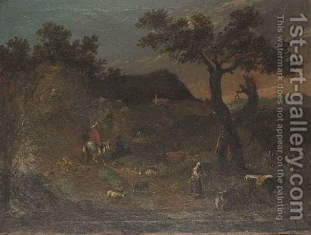 A Landscape With A Traveller On A Path And A Sherperdess Tending Her Flock by (after) Francesco Zuccarelli - Reproduction Oil Painting