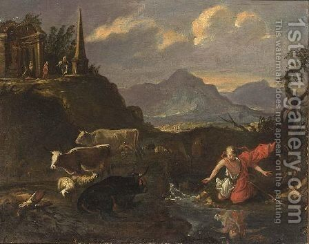 An Extensive Mountainous Landscape With Narcissus Gazing In A Pond by (after) Francesco Zuccarelli - Reproduction Oil Painting