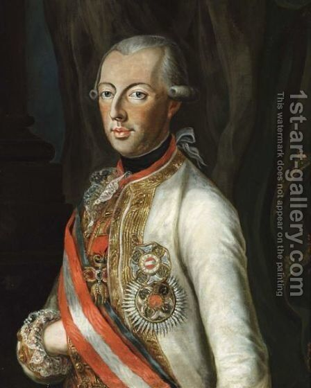 A Portrait Of Joseph II, Roman Emperor (1741-1790) by (after) Joseph Hickel - Reproduction Oil Painting