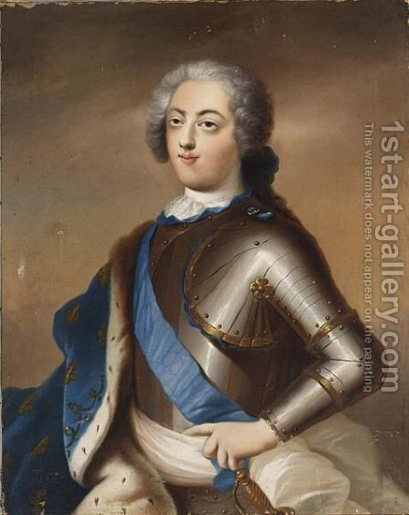 A Portrait Of Louis Xv, King Of France (1710-1774), Half Length, Wearing Armour With A Blue Sash And A Blue Ermine Cloak With Gold Embroidery by (after) Alexander Roslin - Reproduction Oil Painting