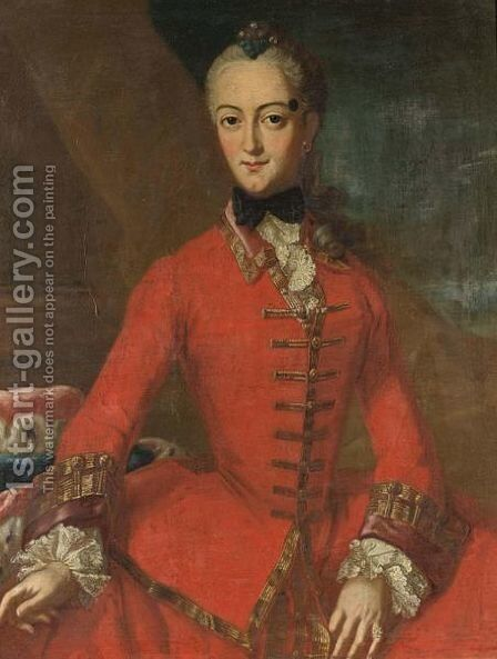A Portrait Of A Noblewoman, Three-Quarter Length, Wearing A Red Dress With Lace Sleeves And Collar by (after) Pietro Antonio Rotari - Reproduction Oil Painting
