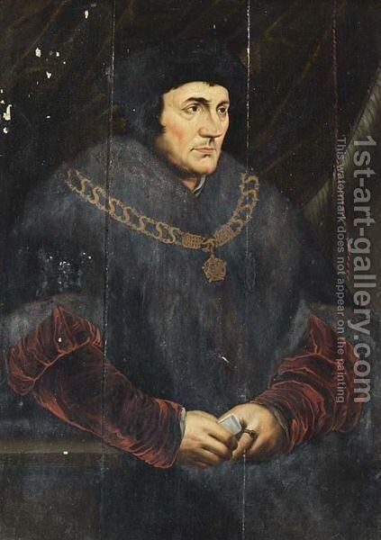 A Portrait Of Sir Thomas More (1478-1535), Seated Three-Quarter Length by (after) Holbein the Younger, Hans - Reproduction Oil Painting