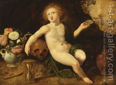 An Allegory Of Vanitas, With A Putto, A Skull, An Hourglass And Flowers, The Resurrection Of Christ Beyond by (after) Adriaen Van Nieulandt - Reproduction Oil Painting