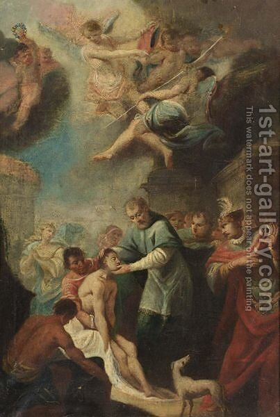 Saint Peter And Saint John Healing A Cripple At The Gate Of The Temple (Acts 3 1-8) by North-Italian School - Reproduction Oil Painting