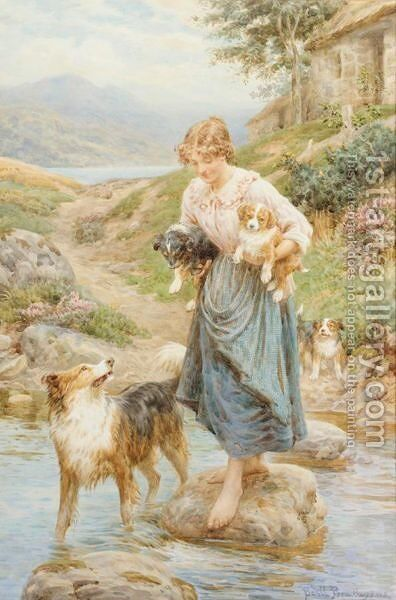 The Stepping Stones by Basil Bradley - Reproduction Oil Painting