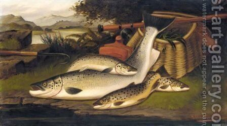 On The Banks Of The Tweed, Salmon, Salmon Trout, Lake Trout by A. Roland Knight - Reproduction Oil Painting