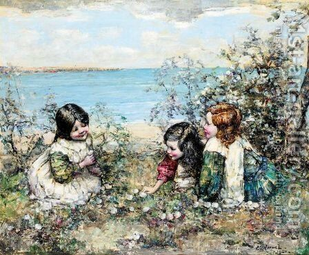 Gathering Flowers by Edward Atkinson Hornel - Reproduction Oil Painting
