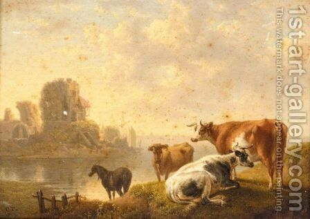 Cattle By A River by (after) Charles Towne - Reproduction Oil Painting