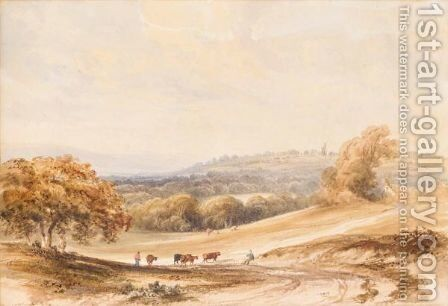 Farmers And Cattle In A Landscape With A Cottage And Windmill Beyond by Anthony Vandyke Copley Fielding - Reproduction Oil Painting
