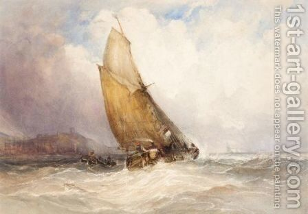 Shipping Off Scarborough 2 by Charles Bentley - Reproduction Oil Painting