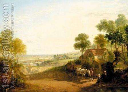 Outside The Red Lion, Nr. Evesham by (after) James Baker Pyne - Reproduction Oil Painting