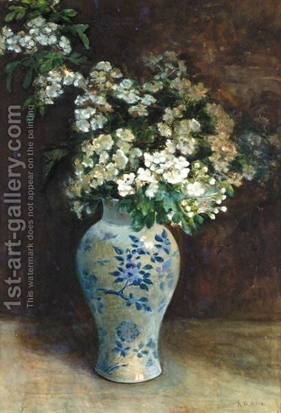 Still Life Of Hawthorn In An Oriental Vase by Archibald David Reid - Reproduction Oil Painting