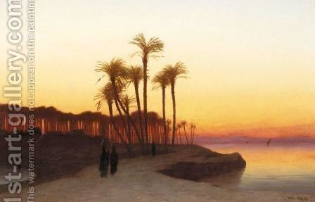 Evening On The Nile by Charles Théodore Frère - Reproduction Oil Painting