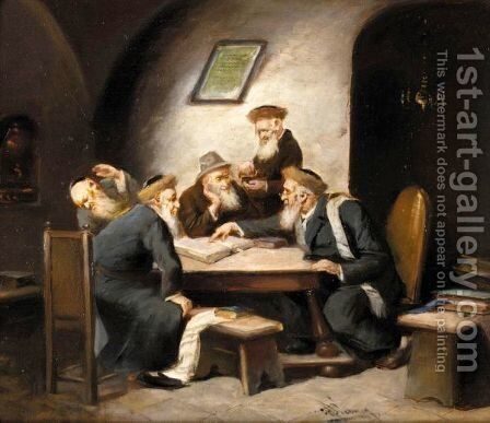 The Talmud Discussion by Hermann Werner - Reproduction Oil Painting