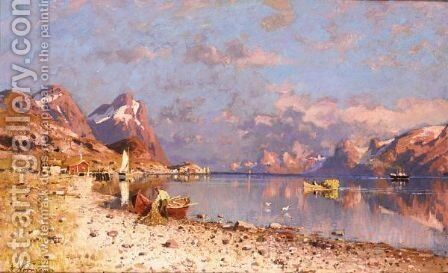 Fishing In A Fjord by Adelsteen Normann - Reproduction Oil Painting