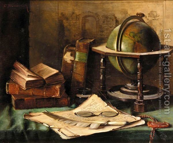 Still Life With Globe And Books On A Desk
