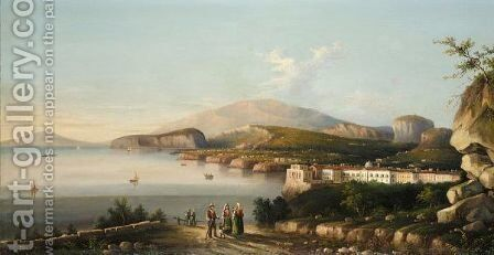 View Of Naples, With The Palazzo Di Capodimonte, The Bay Of Naples Beyond by Italian School - Reproduction Oil Painting