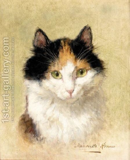 Chat by Henriette Ronner-Knip - Reproduction Oil Painting