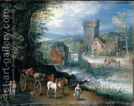 A River Landscape With A Watermill, Travellers And A Horse And Cart In The Foreground by (after) Pieter Gysels - Reproduction Oil Painting