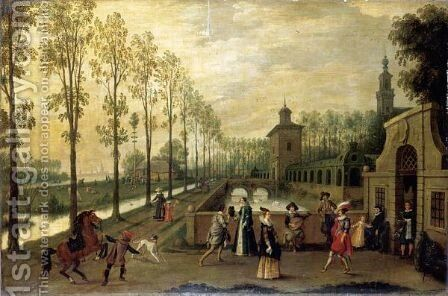 An Elegant Company Promenading Outside A Palace by (after) Sebastiaen Vrancx - Reproduction Oil Painting