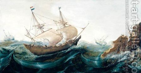 Dutch Shipping Off A Rocky Coast by Cornelis Verbeeck - Reproduction Oil Painting