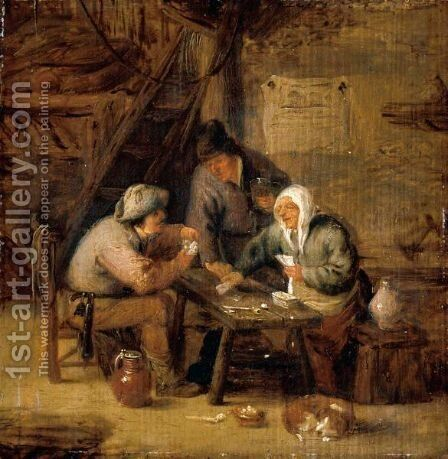 Interior With Peasants Playing Cards At A Table by Isaack Jansz. van Ostade - Reproduction Oil Painting