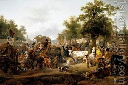 The Village Fair by Jean Louis (Marnette) De Marne - Reproduction Oil Painting
