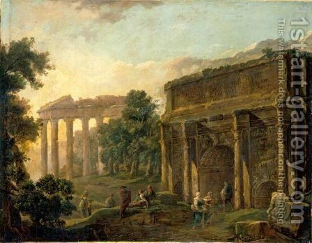 An Architectural Capriccio With Figures Among Roman Ruins by Hubert Robert - Reproduction Oil Painting