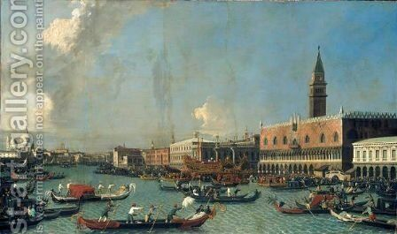 Venice, The Bucintoro Returning To The Molo On Ascension Day by (after) (Giovanni Antonio Canal) Canaletto - Reproduction Oil Painting