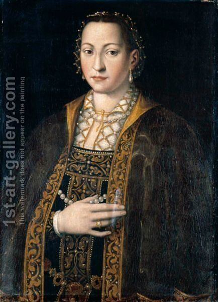 Portrait Of Eleanora Of Toledo, Grand Duchess Of Tuscany (1522-62), Half Length, In A Richly Embroidered And Bejewelled Dress by (after) Agnolo Bronzino - Reproduction Oil Painting