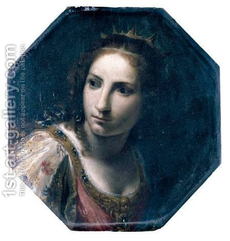Head Of A Female Saint(), Possibly Saint Catherine Of Alexandria by Giovanni Martinelli - Reproduction Oil Painting