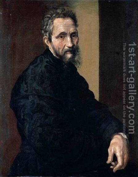 Portrait Of Michelangelo Buonarroti, Half Length, Wearing Black by (after) Jacopino Del Conte - Reproduction Oil Painting