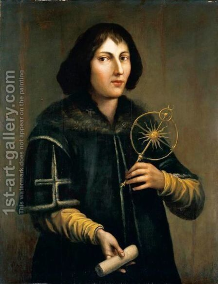 Portrait Of Nicolas Copernicus (1473-1543), Three-Quarter Length, Holding An Astrolabe And A Rolled Parchment by Italian School - Reproduction Oil Painting