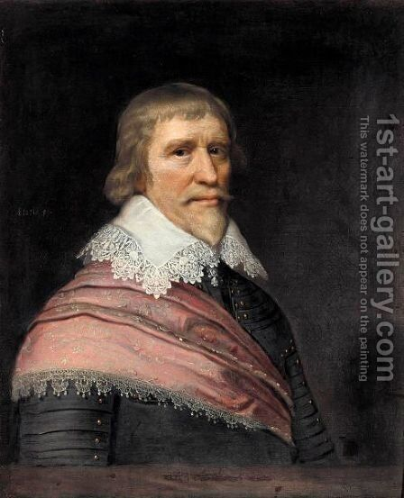 Portrait Of Edward Cecil, Viscount Wimbledon Aged 59, Half Length, Wearing Armour, A White Lace Ruff, And A Red Sash by (after) Michiel Jansz. Van Mierevelt - Reproduction Oil Painting