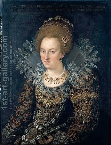 Portrait Of Barbara Sophia, Princess Of Wurtemburg (1584-1636), Half Length, In A Richly Embroidered And Bejewelled Dress by (after) Hans Von Aachen - Reproduction Oil Painting