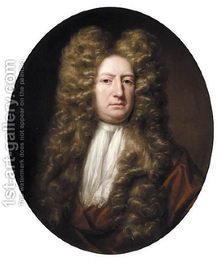 Portrait Of Mr Grosvenor, Half Length, Wearing Brown Robes And A White Necktie by (after) Dahl, Michael - Reproduction Oil Painting