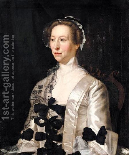 Portrait Of A Lady, Half Length, Wearing A White Satin Dress With Black Bows by Henry Pickering - Reproduction Oil Painting