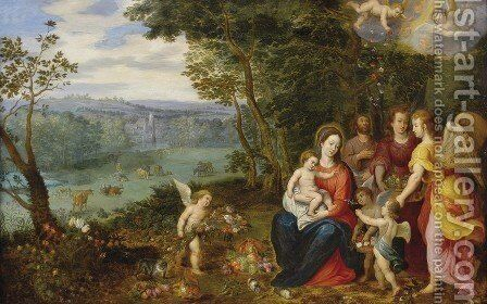 Landscape With The Rest On The Flight Into Egypt by (after) Jan, The Younger Brueghel - Reproduction Oil Painting
