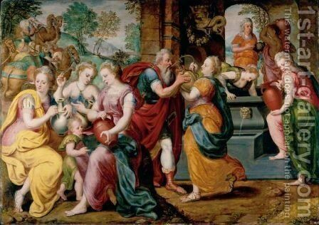 Rebecca And Eliezer At The Well by Flemish School - Reproduction Oil Painting