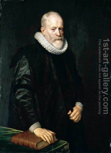 Portrait Of A Gentleman, Three-Quarter Length, Wearing Black With A White Ruff And Standing Beside A Table With His Hand On A Book by (after) Michiel Jansz. Van Mierevelt - Reproduction Oil Painting