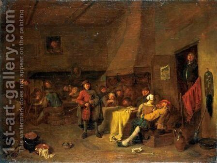 A Tavern Interior With A Pipe-Player And A Merry Company Carousing And Playing Cards by Egbert Jaspersz. van, the Elder Heemskerck - Reproduction Oil Painting