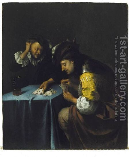 The Card-Players by (after) Eglon Van Der Neer - Reproduction Oil Painting