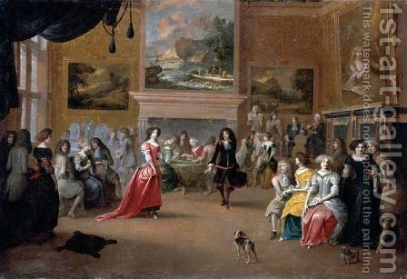 An Interior With An Elegant Company Dancing And Playing Cards by Hieronymus Janssens - Reproduction Oil Painting