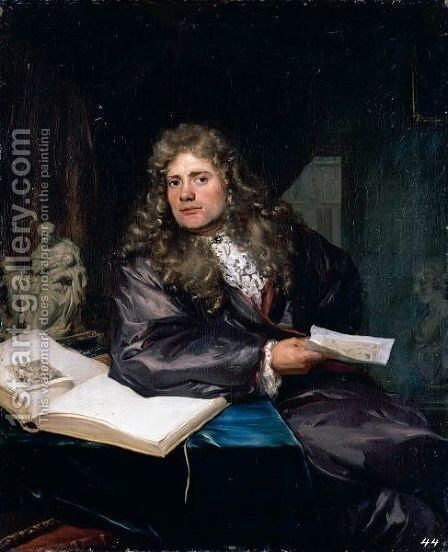 Portrait Of A Collector In His Study, Seated At A Table, Holding A Drawing And Surrounded By Sculptures And A Drawing Folio by David van der Plaes - Reproduction Oil Painting